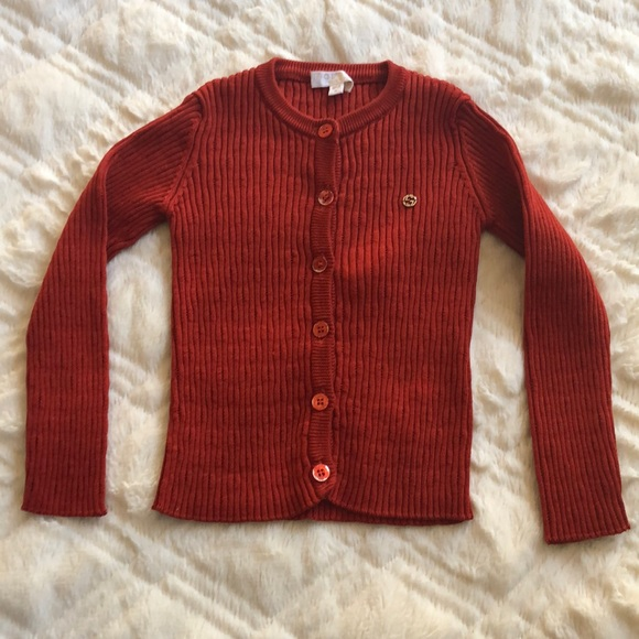 26884022c5ef Gucci Other - Gucci baby ribbed cardigan 9-12 m red orange logo